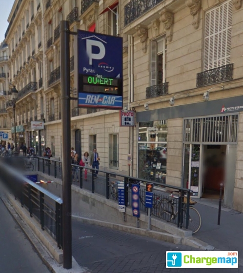 parking souterrain saemes pyramides oplaadstation in paris. Black Bedroom Furniture Sets. Home Design Ideas