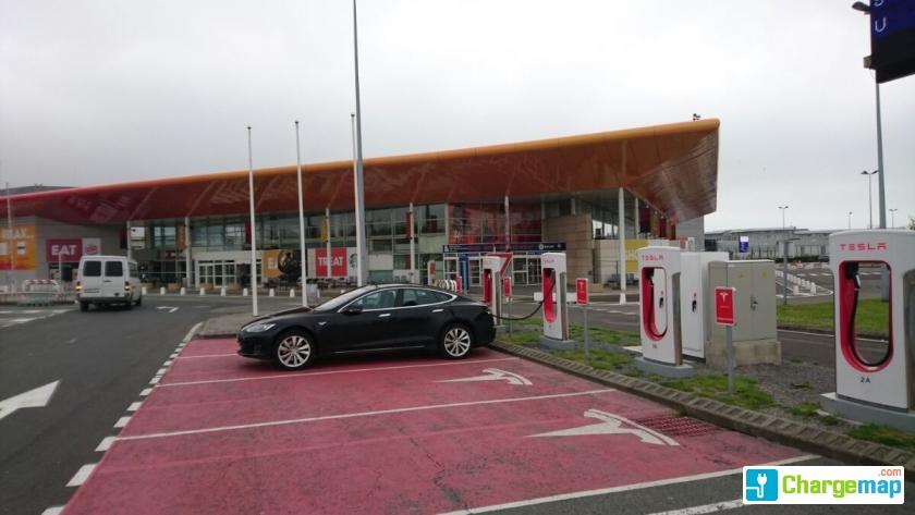 Tesla Supercharger Calais Eurotunnel Terminal Supercharger